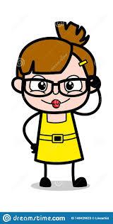 Cartoon Designs Specs Designs Cute Girl Cartoon Character Vector