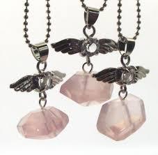 guardian angel rose quartz nugget crystal pendant larger image