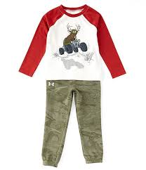 Under Armour Little Boys 2t 7 Long Sleeve Deer Buggy Raglan Tee Camo Pant Set