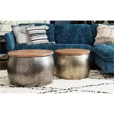 powell reid metal drum table with