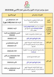مركز القبول الموحد - تذكير بمواعيد إجراءات القبول والتسجيل بنظام القبول  الموحد للعام الأكاديمي 2019/2018 #مركز_القبول_الموحد