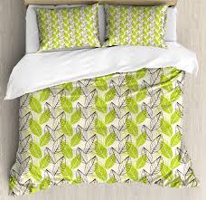 green duvet cover set spring nature inspiration abstract hand drawn leaf shapes growth decorative bedding set with pillow shams apple green dark brown
