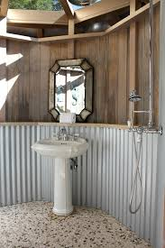 cool bathroom corrugated metal backsplash eclectic san francisco with shower curtains
