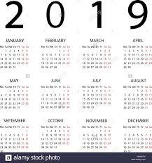 Calendar 2019 Year Week Starts With Monday Stock Vector Art