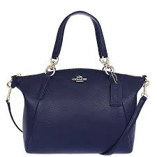 Authentic Coach F36675 Kelsey Satchel In Pebble Leather - Navy Blue