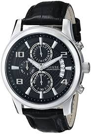 guess men s u0076g1 black classic stainless steel watch guess men s u0076g1 black classic stainless steel watch leather band guess amazon ca watches