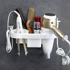 white hairdryer holder hair dryer