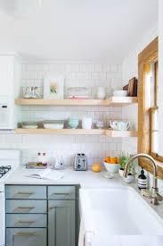 interior design fo open shelving kitchen. Mint Green Kitchen Cabinets Below Neutral Open Shelves With White Backsplash Tiling Via The Everygirl Interior Design Fo Shelving 5