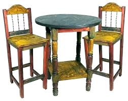 rustic bistro table and chairs indoor set 5 piece round pub sets wood 3 iron setting