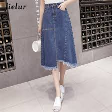 2019 <b>Jielur S 5xl</b> Tassel <b>Blue</b> Denim <b>Korean</b> Style Women Skirts ...