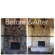here s an inexpensive way to update an ugly rock fireplace from the 80 s 2 colors of paint were used benjamin moore glacial till and valspar montpelier