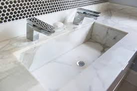 trough sink two faucets.  Two White Marble Trough Sink With Two Faucets To A