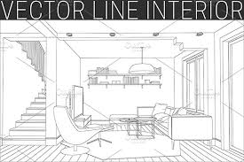 Line drawing of the living room. - Illustrations