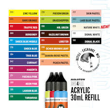 Molotow One4all Color Chart Molotow One4all 30ml Paint Refill