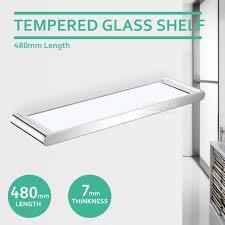 480mm rectangle glass shelf wall mounted shower storage corner holder bathroom