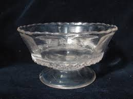 fancy antique vintage pattern glass ice cream dishes small pedestal bowls