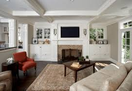 family room with custom built ins