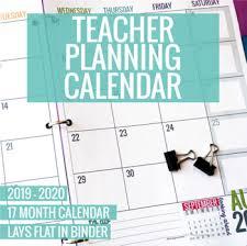 17 Month Calendar 2019 2020 Printable Teacher Planning Calendar Template