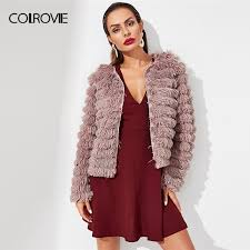 colrovie pink solid layered fringe korean cardigan winter faux fur jacket coat women 2018 fashion warm sweet femme outerwear avirex leather jackets nice