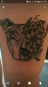 My Next Tattoo Black Ink Floral Pitbull Face Tattoo