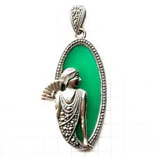 details about jade stone cameo lady pendant w marcasite vintage accents 925 sterling silver