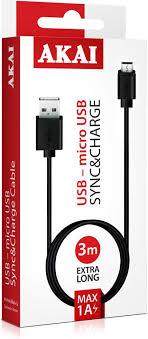 Дата-<b>кабель Akai</b>, CE-431B, разъем USB-micro USB, 1A, оплетка ...
