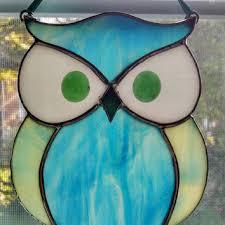 stained glass owl suncatcher bird ornament window decor blue green owl nature