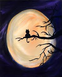 harvest moon kitty original painting cat acrylic on stretch canvas this would be a good idea for uptown art