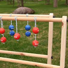 Wooden Ladder Ball Game Interesting Sports Festival Premium Wooden Ladder Golf Ball Toss Game Set With 32