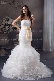 White Mermaid Wedding Dress Strapless Pleated Ruching Bodice With