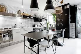 Modern black and white twist on an industrial look.