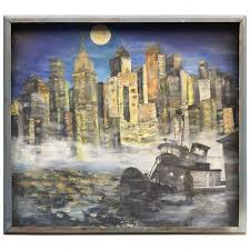 1960s nyc east river cityscape painting for