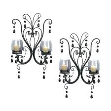2 black french chic chandelier wall sconce shabby candle holder sconces large
