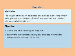 hinduism preview main idea reading focus basic teachings of  hinduism main idea objectives