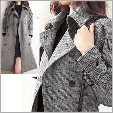 spring and autumn winter trench coat check coat tweed pattern of small grey check size size xs l 2 l p23jan16