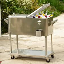 gorgeous outdoor beverage cooler 19 impressing cart of patio stainless steel costway rolling