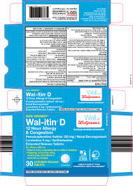 Wal Itin Dosage Chart Wal Itin D 12 Hour Allergy And Congestion Tablet Extended