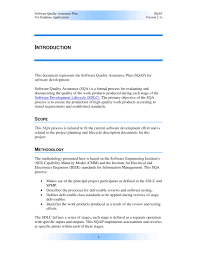 Quality Of Work Example 9 Software Quality Assurance Plan Examples Pdf Examples