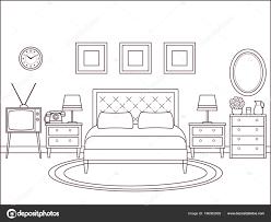Slaapkamer Interieur Hotel Retro Kamer Met Bed Vector Overzicht Home