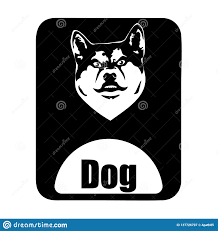 Dog Vector Design Chinese Calendar Animal Monochrome Logotype Dog Head Stock