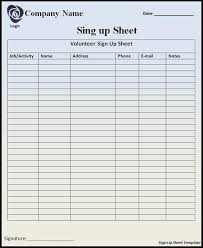 Sign Up Sheet Forms Zromtk Magnificent Free Printable Sign In Sheets