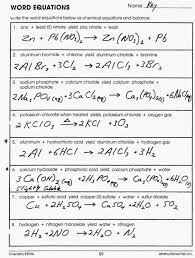 chemistry word equations worksheet answers