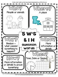 Rl Ri 2 1 5ws And H Question Words Anchor Chart Who What