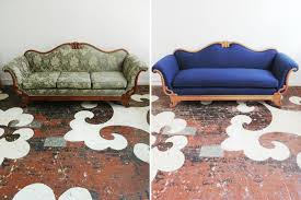 our client s antique sofa with intricate carved wood details and a curving wood frame we sanded off the old dated finish and upholstered the sofa in a