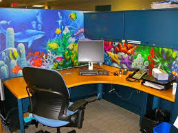 office cube decorations. Cubicle Beautifully Decorated With Colorful Aquarium Scene Wallpaper Office Cube Decorations D