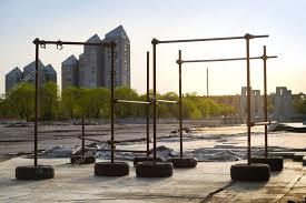 street workout diy set equipment stock photo