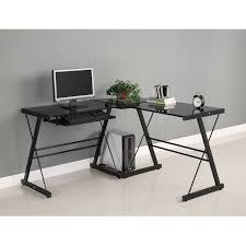 Amazon.com: Walker Edison Soreno 3-Piece Corner Desk, Black with Black  Glass: Kitchen & Dining