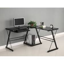 com walker edison soreno 3 piece corner desk black with black glass kitchen dining