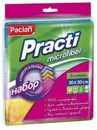 <b>Салфетки универсальные</b> 4 шт. 30х30 см <b>микрофибра</b> Paclan ...