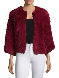 h brand jagger chevron rabbit fur jacket red women s coats faux shearling